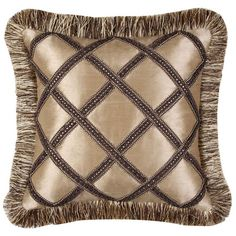 Silk-inspired pillow with a lattice motif and fringe border. Product: PillowConstruction Material: Polyester cover