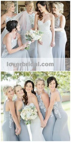 Halter Unique Lace Mermaid Cheap Long Grey Bridesmaid Dresses Online  Inexpensive Wedding Dresses ac290363c2cf