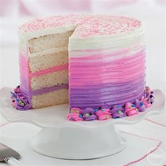 Bold Pink & Purple Ombre Cake from Pillsbury is an easy and impressive recipe for your little princess!