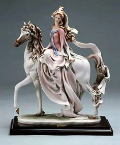 Lady On Horse Porcelain Figurine