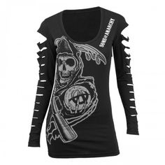 Sons of Anarchy Long-Sleeved Laser-Cut Women's T-Shirt