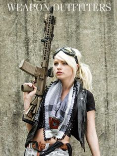 "Rin (aka clockworkkat) with a rifle, featuring an lightweight 16"" SIONICS Weapon Systems melonited/hardened barrel, and the lightweight SLR Rifle Works ""LITE"" rail in Keymod.VG6 Precision Epsilon 556 Muzzle BrakeSLR Rifleworks RailsZeroBravo reversible hand stop (RHS)TangoDown iOCoverWeapon Outfitters Shemagh"