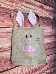 Easyer basket Burlap Bunny Easter Bag Pink Ears Green Ears Blue Ears (18.00 USD) by FunCustomCreations