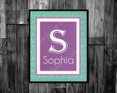 Kids and Nursery decor Digital Download Initial and Name printable sign by ThePaperLace, $7.00
