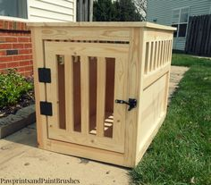 So we've built a dog crate! Woohoo! Yay! The hard part is over. Now comes the fun part, customizing it to fit in your own home! You can always paint it with ...