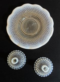 Hobnail Opalescent Moonstone Plate with matching candleholders on Etsy, $28.00