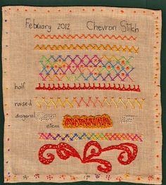 cute chevron stitch embroidery sampler