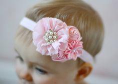 Pink Baby headband, newborn girl fancy satin fabric headband, hair bow hairbow