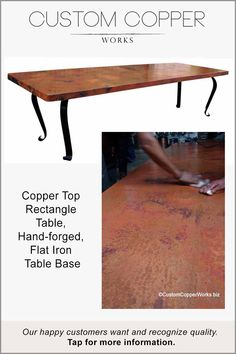 """Copper Top Dining Table — 125"""" x 44"""" x 2.5"""" — mounted on hand-forged, wrought iron table base powder coated in a dark chocolate. The base legs angled out at the corners maximizes seating capacity around this copper top dining table. The timeless look of this copper top dining table design compliments modern, contemporary, transitional décor palettes. All sizes and copper patina color options available."""