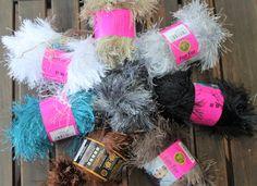 Lion Brand Fun Yarn - Mixed Lot of 12 Various Color Skeins of Fun Yarn - Destash - Novelty Yarn-Scarf Yarn-Handbag Embellishment- by EasyLifeInspirations on Etsy