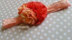 Coral Salmon Pink Flower Cluster on Lace Headband - pinned by pin4etsy.com