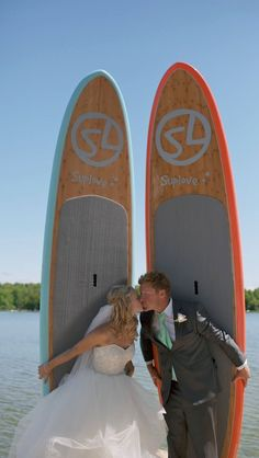 @suplovesup  www.suplove.com  www.supsaublebeach.ca Bride and groom with Suplove stand up paddle boards!