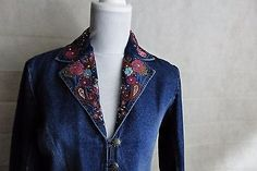 Western Barrel Rodeo GORDON & JAMES Embroidery ROSES RHINESTONE Denim Jacket SZS