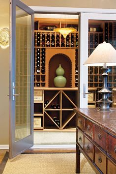 We would've went with a white vase -but still a great modern luxury cellar