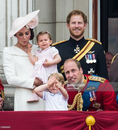 Catherine, Duchess of Cambridge, Princess Charlotte, Prince George, Prince Harry, Prince William, Duke of Cambridge stand on the balcony during the Trooping the Colour, this year marking the Queen's official 90th birthday at The Mall on June 11, 2016 in London, England. The ceremony is Queen Elizabeth II's annual birthday parade and dates back to the time of Charles II in the 17th Century when the Colours of a regiment were used as a rallying point in battle. (Photo by Samir…