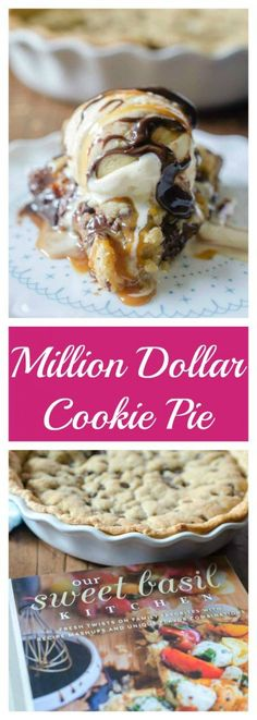 Million Dollar Cookie Pie is a decadent dessert with a layer of pie crust, chocolate hazelnut spread, Dulce de Leche and chocolate chip cookie dough.