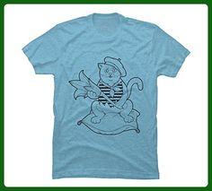 Cat Men's Medium Sky Blue Heather Graphic T Shirt - Design By Humans - Animal shirts (*Amazon Partner-Link)