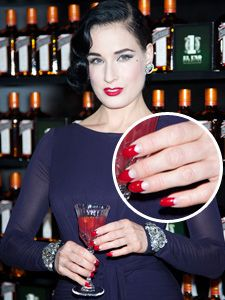 Dita von Teese Half moon nails Totally doing this!