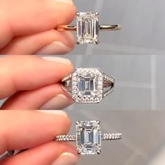 1️⃣, 2️⃣, or 3️⃣?! Which setting style is your fav for an emerald cut diamond 💎? Tell us ⬇️ - 💍 ring styles: 1️⃣ emerald cut solitaire SOR-25228 2️⃣ emerald cut halo VNR-10293 3️⃣ emerald cut cathedral LSR-24792 - #laurenbjewelry #emeraldcut #engagementrings #ringinspo #emeraldcutdiamond