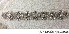Crystal applique, rhinestone applique, wedding applique, beaded crystal patch, DIY wedding sash, headband, headpiece. $80.00, via Etsy.