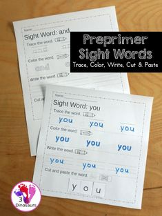Free Preprimer Sight Word Trace, Color, Write, Cut & Paste - all 40 dolch pre primer sight words in an easy to use worksheet that has trace, coloring, writing, and cut and paste for the sight words - 3Dinosaurs.com #sigthwords #preprimer #freeprintable #3dinosaurs #learningtoread #kindergarten Pre Primer Sight Words, Sight Words List, Sight Words Printables, Sight Word Worksheets, Beginning Reading, Free Reading, Th Words, Sight Word Spelling, How To Teach Kids