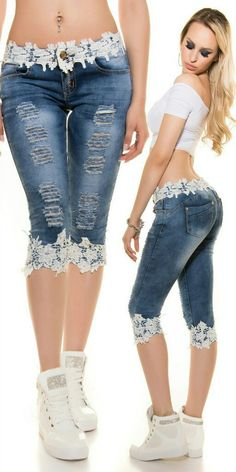 TCJULY 2019 Fashion Streetwear Knee Length Jeans With Lace Patchwork Skinny Push… TCJULY 2019 Fashion Streetwear Knielange Jeans Mit Spitze Patchwork Skinny Push Up Dünne Caprihose Stretchy Casual Blue Jeans Lace Jeans, Denim And Lace, Blue Denim, Jeans Refashion, Diy Jeans, Jeans Pants, Dress Pants, Shorts, Kleidung Design