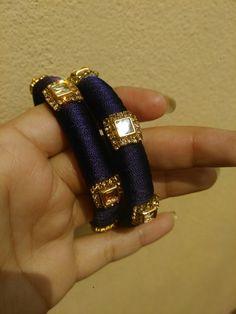 Silk Thread Bangles Design, Silk Thread Necklace, Silk Bangles, Bridal Bangles, Thread Jewellery, Paper Quilling Jewelry, Bangles Making, Bangle Set, Rakhi