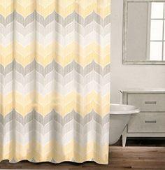 Caro Home 100% Cotton Shower Curtain Wide Stripes Chevron Fabric Shower Curtain Zig Zag White Taupe Grey Beige Gray Tweed Herringbone Design (Yellow), http://www.amazon.com/dp/B016WQ74IG/ref=cm_sw_r_pi_awdm_IfPlwb0NNB6MV
