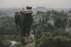 Rock Climbers at the BasteiSaxonian Switzerland