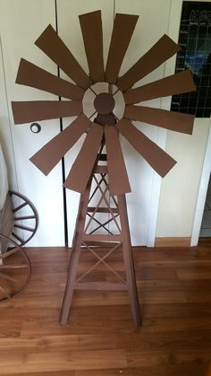 Windmill I made for kids camp. Cardboard, spray paint, cheese cloth (helped hold the blade pieces together) and HOT GLUE! Cowboy Birthday Party, Farm Animal Birthday, Cowboy Party, Farm Birthday, Wild West Theme, Wild West Party, Farm Crafts, Vbs Crafts, Cocktails Bar