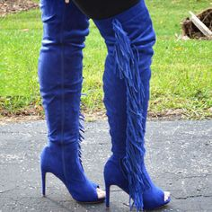 open toe fringe thigh high boot discount shoes