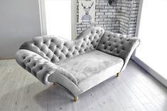 💚 Tkanina plusz velvet w najróżniejszych kolorach , po przejechaniu ręką zostawia ślad 👉 ogranicza pochłanianie wody, łatwo się czyści Gray Sofa, Love Design, Armchair, Lounge, Couch, Retro, Grey, Furniture, Home Decor