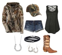"""Summer Fishing and Bonfire"" by im-a-jeans-and-boots-kinda-girl on Polyvore featuring Pilot, Hollister Co., Durango, Phillip Gavriel and country"