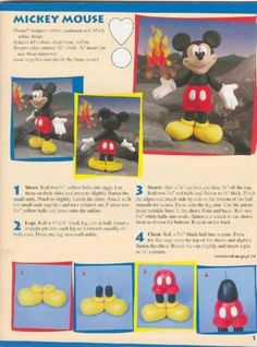 Mickey, Minnie, Donald, Pluto Goofy all in English tutorials Mickey Mouse Cake, Mickey Mouse Birthday, Minnie Mouse, Polymer Clay Projects, Clay Crafts, Bolo Do Mikey, Gateau Theme Mickey, Fondant Animals, Fondant Decorations