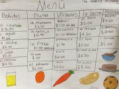 Creating our own restaurant menus in Spanish! So much fun. #menu #spanish #brookeside #montessori