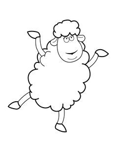 Funny Sheep Cartoon Animals Coloring Pages For Kids Printable Free