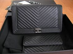 4bef2abeecd883 fleeknsleek.com BNIB Authentic Chanel Black Chevron WOC (2 PCS Set) Wallet  On a Chain Bag #chanel #fashion #desinger #boutique