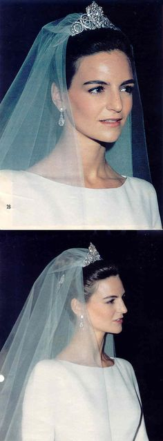 Princess Maria of Bulgaria, Princess of Vidin. Wife of Prince Konstantin-Assen of Bulgaria, Prince of Vidin (son of Tsar Simeon II of Bulgaria). Wearing a diamond tiara.