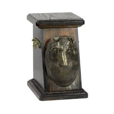 Wooden urn, made of birch with cold cast bronze statue ♥ Cremation Boxes, Dog Cremation, Shetland Sheepdog, Brass Handles, Sheltie, Urn, Birch, Your Pet, It Cast