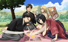 Official art (new year)- Levi, Eren, Mikasa, Historia. Shingeki no Kyojin, Attack on titan.