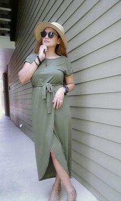 bdef62d062b Short Sleeve High Slit Solid Maxi Dress with Belt