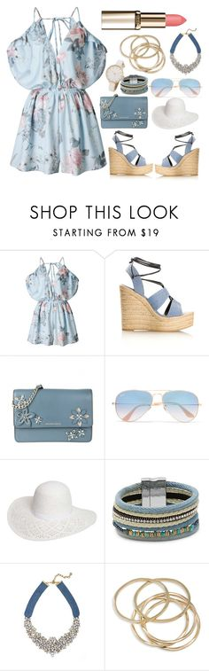 """""""Rosegal Floral Romper"""" by basmahahmed ❤ liked on Polyvore featuring Yves Saint Laurent, MICHAEL Michael Kors, Ray-Ban, Dorothy Perkins, Design Lab, BaubleBar and ABS by Allen Schwartz"""