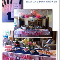 Pink and navy shower