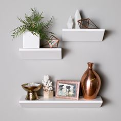 Belham Living Finn Floating Wedge Shelf - Set of 3 Walnut - Shelf decor bedroom - Floating Shelves Bedroom, Floating Shelf Decor, Wall Shelf Decor, White Floating Shelves, White Hanging Shelves, Bedroom Wall Shelves, Shelving Decor, White Shelves, Floating Wall