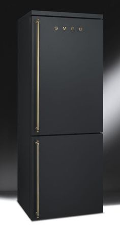 Matte black fridge | Smeg #ItalianInteriorDesign