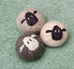 Felt Wool Dryer Balls Set of 3 in natural dark grey, light grey white from www.etsy.com/listing/125318329/felt-wool-dryer-balls-set-of-3-100-wool
