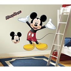 Giant colorful Mickey Mouse wall decals for kids rooms and nursery. Mickey Mouse and friends wall stickers are wonderful for Mickey Mouse fans. Mickey and friends decals are self-adhesive and removable. Peel-and-stick wall clings Mickey and Minnie mouse Disney Mickey Mouse, Mickey Mouse Clubhouse, Mickey Mouse Room, Minnie Mouse, Mickey Y Minnie, Disney Boys, Mickey Party, Mouse Ears, Mickey Mouse Wall Decals
