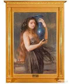 Aukcja katalogowa, 123 Aukcja malarstwa i rzemiosła artystycznego, Teodor AXENTOWICZ, KOBIETA TRZYMAJĄCA DZBAN Z WAWELEM W TLE ok. 1904 r.