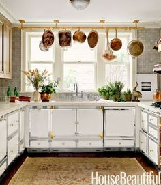 A Polished Brass Pot Rack Brightens Up The Basement Kitchen Of This New  York Town House. Design: Carey Maloney And Hermes Mallea Love The Cabinets!