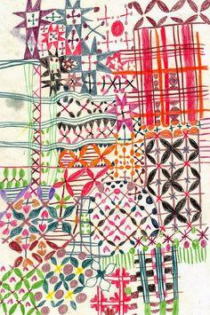 abstract pattern by Monika Forsberg via walkyland Textile Prints, Textile Patterns, Textile Design, Color Patterns, Fabric Design, Print Patterns, Illustrations Vintage, Illustration Art, Surface Pattern Design